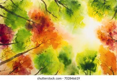 Autumn watercolor landscape illustration.