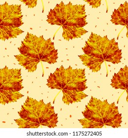 Autumn watercolor seamless pattern. Orange fallen leaves on a yellow background.