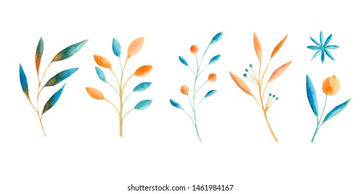Autumn watercolor set with blue and orange leaves, mushrooms, berries. Frames and patterns with blue leaves, mushrooms, berries. Ideal for cards and invitations.
