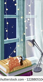 Autumn wind bleak night, girl sleeping under the window sill