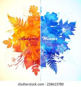 Autumn and winter season watercolor illustration