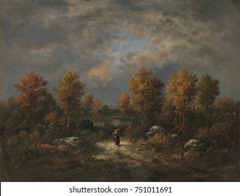 AUTUMN: THE WOODLAND POND, by Narcisse Virgilio Diaz, 1867, French painting, oil on canvas. This painting was created in Diazs studio, incorporating the details and effects of nature that he observed