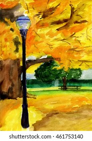 autumn yellow park with green and yellow trees and lamp, bench