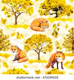 Autumn yellow trees. Park, forest pattern with fox animals. Seamless background. Watercolor