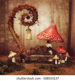 Autumnal fairytale scenery with a bench, lamp and big mushrooms. 3D illustration.