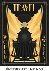 ALSO AVAILABLE HERE: https://www.etsy.com/ru/listing/495224890/art-deco-poster-of-transcontinental  OLD PAPER. Art DecoTravel Poster. Steam train. Transcontinental passenger train. C.P.R engine #374.