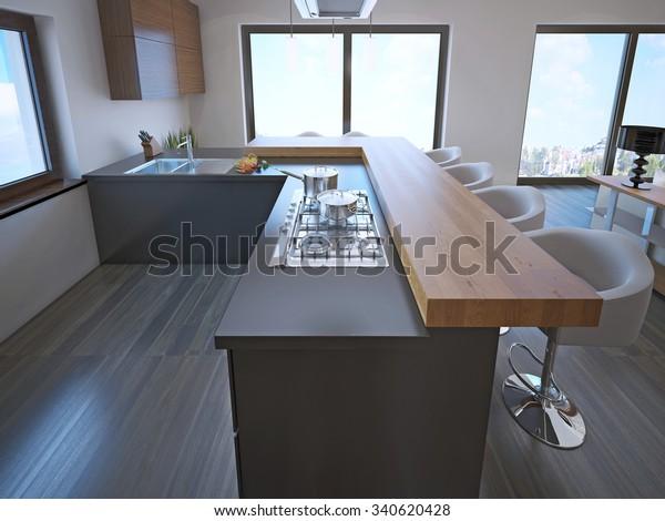 Avantgarde Kitchen Island Bar Lightwood Countertop Stock