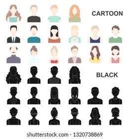 Avatar and face cartoon icons in set collection for design. A person appearance bitmap symbol stock web illustration.