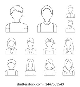 Avatar and face outline icons in set collection for design. A person s appearance bitmap symbol stock web illustration.