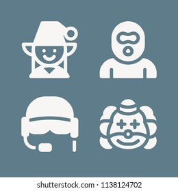 Avatar icon set - filled collection of 4 vector icons such as burglar, elf, helmet