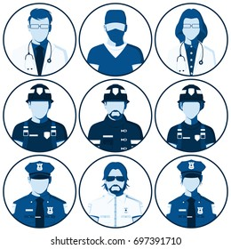 Avatar of people of emergency services. Flat icons with silhouettes of fireman, rescuer, doctor, paramedic and police officer. Man and woman isolated on white. Raster illustration.
