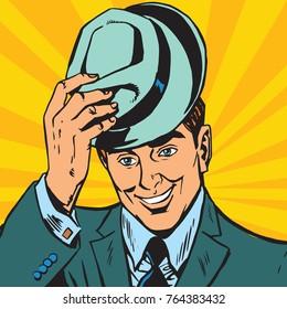 avatar portrait gentle man raises his hat. Pop art retro  illustration