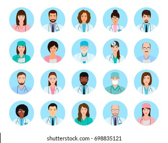 Avatars characters doctors and nurses set. Medical people icons of faces on a blue background. Flat style illustration.