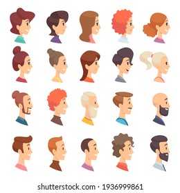 Avatars profile. Persons male and female different ages elderly bearded head smile girls and guys characters