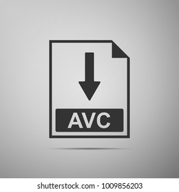 AVC file document icon. Download AVC button icon isolated on grey background. Flat design