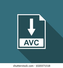 AVC file document icon. Download AVC button icon isolated with long shadow. Flat design
