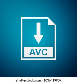 AVC file document icon. Download AVC button icon isolated on blue background. Flat design