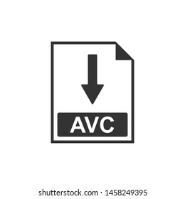 AVC file document icon. Download AVC button icon isolated. Flat design