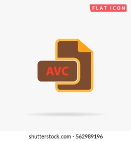 AVC file. Flat color symbol icon on white background with shadow