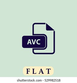 AVC file. Flat dark icon. Simple illustration