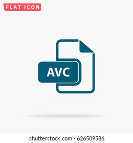 AVC file. Flat simple Blue pictogram on white background. Illustration symbol with shadow