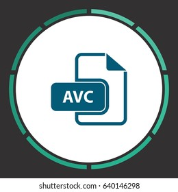 AVC file. Flat simple Blue pictogram in a circle. Illustration icon