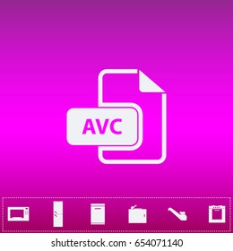 AVC file. Flat simple white pictogram on purple background. Illustration icon and bonus kitchen icons set