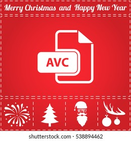AVC file. Flat symbol and bonus icons for New Year - Santa Claus, Christmas Tree, Firework, Balls on deer antlers
