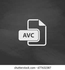 AVC file. Imitation draw icon with white chalk on blackboard. Flat Pictogram and School board background. Illustration symbol