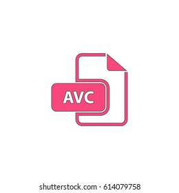 AVC file. Pink symbol with black contour line. Flat icon illustration