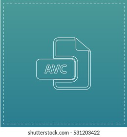 AVC file. White outline simple pictogram on blue background. Line icon