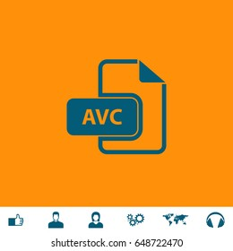 AVC Icon Illustration. Blue pictogram on orange background and bonus icons Thumb up, Man and Woman avatar, Gears, World map, Headphones