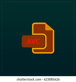 AVC Icon Illustration. Color symbol button on black background. Symbol