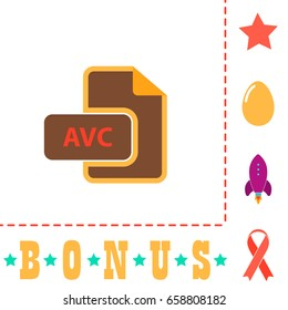 AVC Icon Illustration. Flat color pictogram on white background and bonus symbol Star, Egg, Rocket, Ribbon