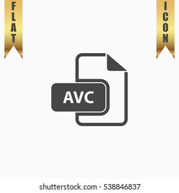 AVC Icon Illustration. Flat simple icon on light background with gold ribbons
