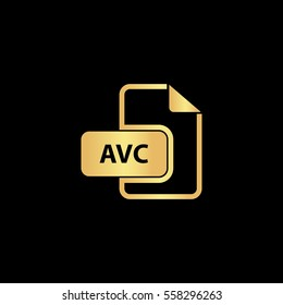 AVC Icon Illustration. Flat simple gold pictogram on black background
