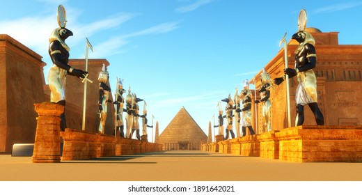 Avenue of Egyptian Pharaohs 3d illustration - Statues of Egyptian gods line a street in ancient Egypt including Amun, Anubis, Hathor, Horus, Maat, and Ra.