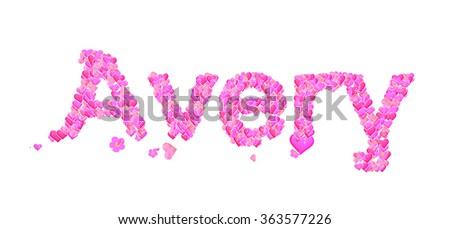 avery name set hearts decorative lettering stock illustration