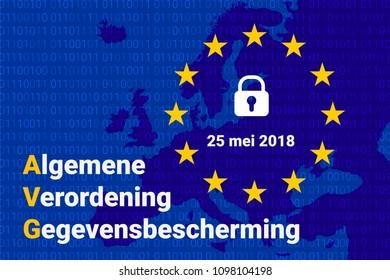 AVG dutch text, english translation - GDPR - General Data Protection Regulation.  illustration