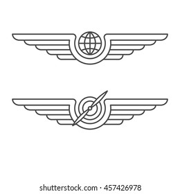 Aviation emblems, badges and logo patches. Military and civil aviation icons. Travel agency logo. Air force symbol. stock illustration.