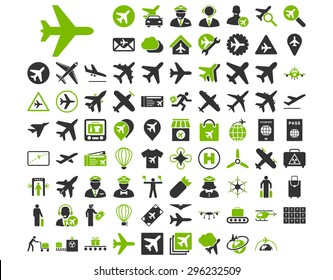 Aviation Icon Set. These flat bicolor icons use eco green and gray colors. Raster images are isolated on a white background.