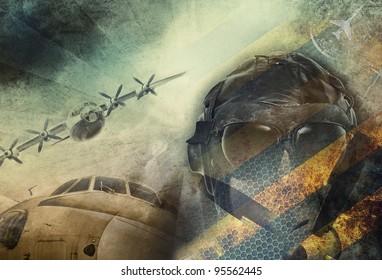 Aviation, vintage military grunge background