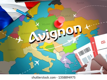 Avignon city travel and tourism destination concept. France flag and Avignon city on map. France travel concept map background. Tickets Planes and flights to Avignon holidays French