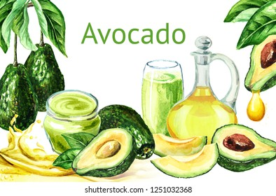 Avocado card, Watercolor hand drawn illustration, isolated on white background