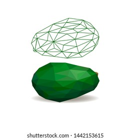 Avocado cut in half with pits, pitted isolated on white background. Avocado isolated. Polygonal fruit. Polygonal fruit - avocado. Low poly style.