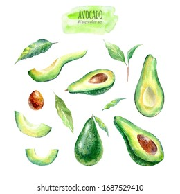 Avocado and floral set .Watercolor hand drawn illustration.White background.