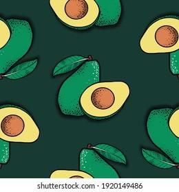 Avocado and half close-up, seamless pattern on dark green background