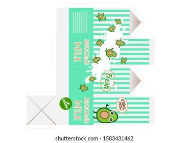 Avocado Milk pack carton box  Ready-to print  dollhouse props