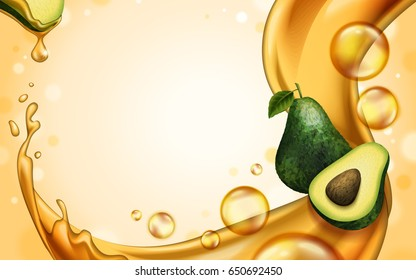 avocado oil theme background for design uses, 3d illustration