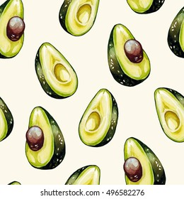 Avocado pattern. Watercolor seamless pattern. Pattern for kitchen, textile.